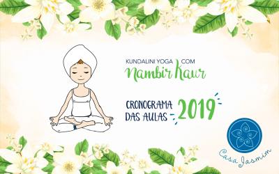 Cronograma das aulas de Kundalini Yoga com Nambir Kaur | 2019